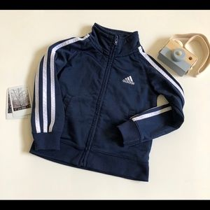Adidas Track Jacket Full Zip Spell Out Navy Blue